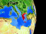 Greece on realistic model of planet Earth with country borders and very detailed planet surface.