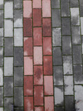 Red and gray pavement tiles, after the rain. Texture and background of stone. - 236372561
