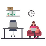 woman with laptop in the workplace - 236373598