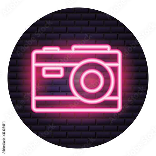 photography camera neon brick wall - 236376141