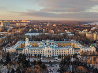 Aerial view of Voronezh in winter evening from height of drone flight