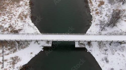 Plakat Drone shot above one of the bridges of Boucherville's islands.