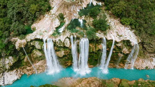 Tropical waterfall deep in forest aerial view - 236394922