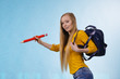 Young woman going to school