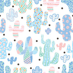 Cute cactus, cute polka dots. Colorful seamless pattern. © vyazovskaya