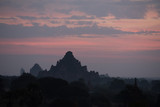 Scenic sunrise with thousands of historic buddhist temples in Bagan Myanmar