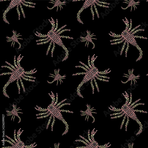 Vector seamless pattern in Mondriaan (Mondrian) style pink scorpions on a black background © Irina Ikar
