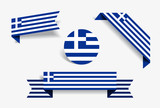 Greek flag stickers and labels. Vector illustration.