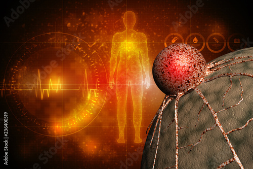 Digital illustration of a tumor cell, cancer cell on the surface of epit 3d rendering image