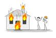 maison en feu appel des secours pour incendie