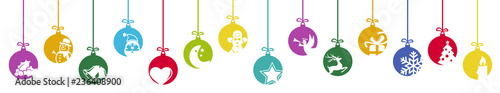 collection of hanging baubles with christmas icons