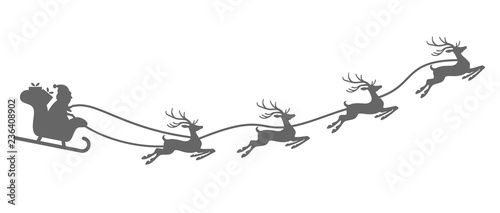Santa Claus with sled and reindeers