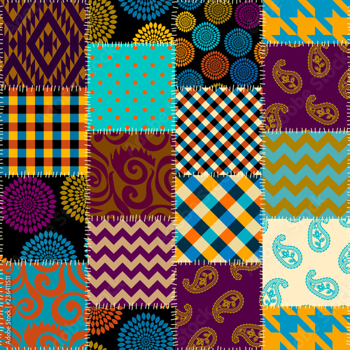 Patchwork textile pattern. Seamless quilting design background. - 236411511