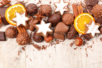 christmas chocolates background © M.studio