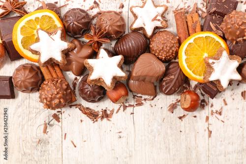 Boże Narodzenie czekoladki tło