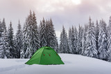 Green tent against the backdrop of foggy pine tree forest. Amazing snowy landscape. Tourists camp in winter mountains. Travel concept