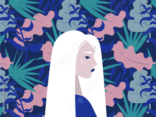 Illustration of profile portrait girl on a background of a pattern with leaves. Albinism. - 236430774