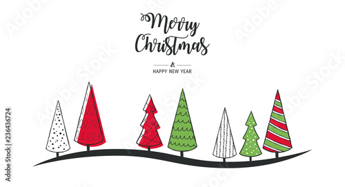 Modern greeting card Merry Christmas. Vector illustration with Christmas tree. In the colors red, green, white. - 236436724