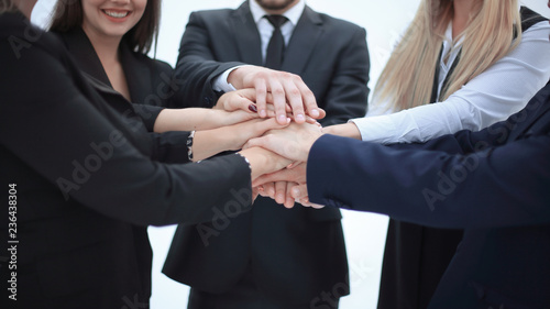 close up. business team shows its unity