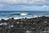 Fala na oceanie kamieniste wybrzeże