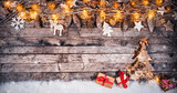 Decorative Christmas rustic background with gifts - 236443524