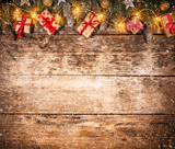 Decorative Christmas rustic background with gifts - 236443542