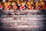 Decorative Christmas rustic background with gifts - 236443563