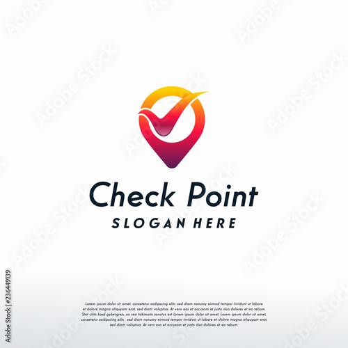 Check Point Logo Designs Concept Vector Safe Place Template Symbol Icon