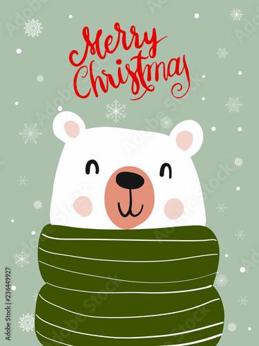 Polar Bear Scarf Cartoon with Christmas Festival and Snow Winter Vector.