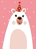 Polar Bear Scarf Cartoon with Christmas Festival and Snow Winter Vector.