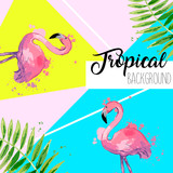 Tropical leaves and flamingo summer banner. Graphic background.