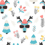 Seamless pattern with deer and flowers