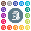 Playlist properties flat white icons on round color backgrounds