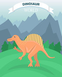 Poster with dinosaur on the background of a mountain landscape. Dinosaur world. Banner in a flat cartoon style. © Татьяна Панькова