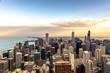 Spettacular sunset over skyline of Chicago