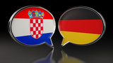 Croatia and Germany flags with Speech Bubbles. 3D illustration