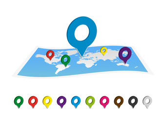 World map with colorful pin icon.