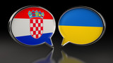 Croatia and Ukraine flags with Speech Bubbles. 3D illustration