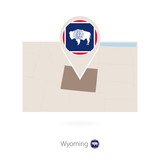 Rectangular map of US state Wyoming with pin icon of Wyoming