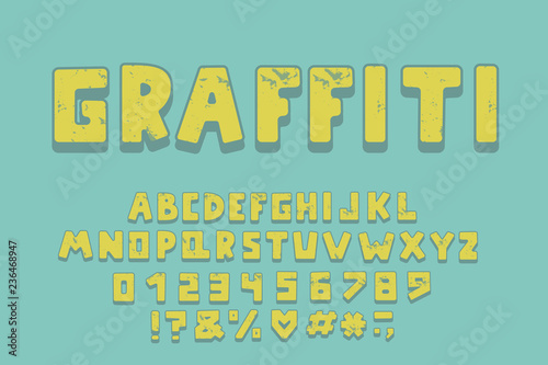 Alphabet graffiti design. Letters, numbers and punctuation marks. EPS 10