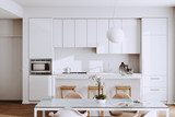 Beautiful White Modern Kitchen in new Luxury Home with  Hardwood Floors, and Vintage Appliances 3d render - 236475326