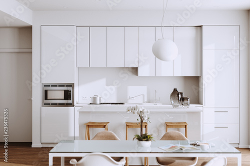 Piękna Biała Nowożytna kuchnia w nowym luksusu domu z twarde drzewo podłoga i Rocznik urządzeniami 3d odpłacamy się