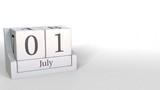 July 1 date on retro blocks calendar, 3D animation - 236476593