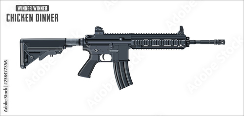 Assault rifle vector isolated on white background - Assault rifle weapon. game vector illustration. © IvanDbajo