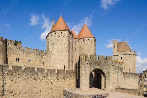 canvas print picture Altstadt von in Carcassonne in Südfrankreich.