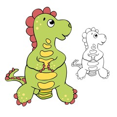 Cute green dinosaur is standing and looking to the right on the white background, children`s coloring book, page, funny dino, vector line art, black color outline, kid`s illustration © Oli`a Kis