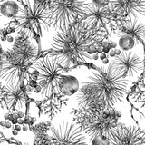 Christmas Vintage Floral Seamless Pattern, New Year Decoration - 236489728