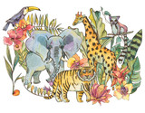 Watercolor jungle illustration, Natural Exotic Tropical Greeting Card with wild animals, flowers of orchids - 236489938