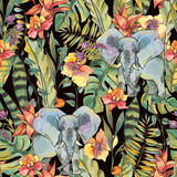 Watercolor jungle seamless pattern, Flowers of orchids, liana and elephant - 236490501