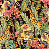 Watercolor Seamless Pattern with flowers of orchids, monstera, palm, liana, tiger, giraffe - 236490716